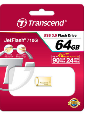 Флаш памет Transcend 64GB JetFlash 710 USB 3.1/3.0, read-write: up to 90MBs, 24MBs, Gold Plating